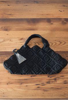 Vintage Black Macrame Handbag with Lucite Charm