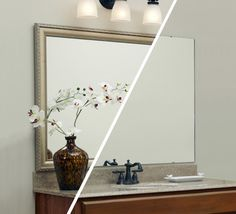 A MirrorMate frame was added in the Bellemeade style to the plate glass bathroom mirror for an dramatic update that took just minutes.  #diy, #mirrormate, #frameyourmirror, #bathroommakeover, #bathroomupdate