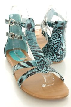 73402dd93107 Blue Faux Leather Leopard Buckle Side Gladiator Sandals   Sexy Clubwear