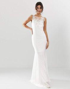 56c42e1663 City Goddess bridal fishtail maxi dress with embellished detail  maxi   dresses  wedding