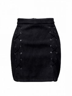 Shop Black Faux Suede Lace Up Side Pencil Skirt from choies.com .Free shipping Worldwide.$23.99