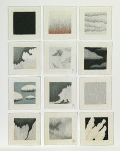"Julia Mitchell, ""Twelve Clouds,"" each 12″ x 12″"