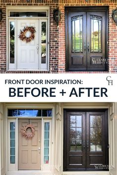 Customize your front or patio entrance with a Clark Hall exterior door. From modern to traditional, our custom made iron doors transform the design of any home. Do you need hurricane impact doors for your Florida home? We can also help you bring custom style to your front entrance. Check out our inspiration page for before and after photos and ideas. Custom Front Doors, Front Doors With Windows, House Front, Front Door Makeover, House Exterior, Door Makeover, Front Door Inspiration, Double Doors Exterior, Replacing Front Door