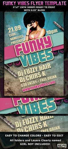 """Funky Vibes Party_Club Flyer Template is perfect for club event and party you are organizing and any music genre!  1 PSD file: 5""""x7""""  Clearly labeled folders and layers  CMYK – 300dpi – Ready to print with guides"""