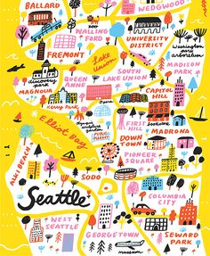 illustrated map of Seattle - Jordan Sondler, artist - USA Destinations Seattle Travel Guide, Seattle Map, Seattle Vacation, Seattle Neighborhoods, West Seattle, Travel Maps, Travel Usa, Washington Map, Edinburgh
