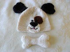 Knitted Dog Bone Photo Prop Animal Hat Photo Prop Knitting Knit Baby Hat Knitted Baby Hats Knitted Dog Hat  Dog Baby Hat by CottonPickings on Etsy