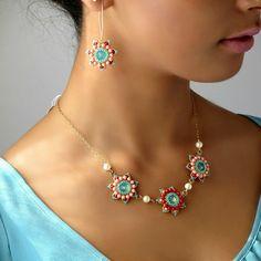 Flower dangle earrings Turquoise and coral by LioraBJewelry Crystal Rivoli Earrings.