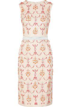 Mallory crystal-embellished silk-blend dress