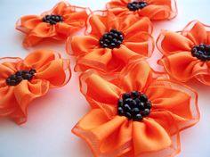 Handmade Neon Orange Medium Ribbon Flower by BizimSupplies on Etsy, $10.00