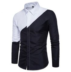 2018 Mens Cotton Black White Stitching Color Shirts Casual Slim Fit Fashion Man Lapel Large Size Long-sleeved Shirts Male - Men's style Trend Fashion, Autumn Fashion, Fashion Black, Black And White Shirt, Black White, Mens Designer Shirts, Business Casual Dresses, Mens Suits, Fitness Fashion