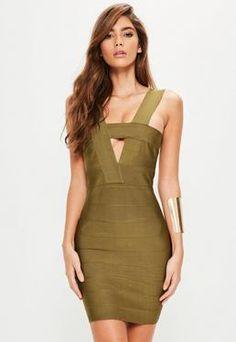 Green Bandage Cut Out Bodycon Dress