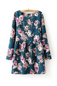 Vintage Flower Print Frilly Dress