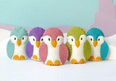 Pastel Penguin Family - 5 Wool Felt Finger Puppets