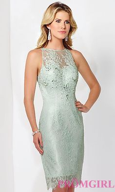 High Neck Knee Length Lace Cocktail Dress at PromGirl.com