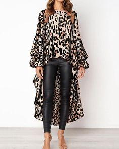 PickYourLook Leopard Print Long Sleeve Ladies Tops Irregular Ruffles Shirts Womens Tops and Bouses Blusas Mujer De Moda Blouse Fashion Mode, Look Fashion, Womens Fashion, Winter Fashion, Fashion Stores, Cheap Fashion, Party Fashion, Ladies Fashion, Fashion Brands