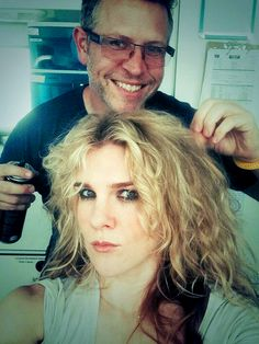 Coven, Lily Rabe gets her hair done for her character Misty Day
