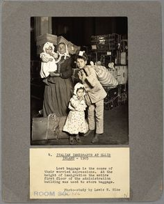 Lewis Wickes Hine is one of the most well known photographers who documented the life of laborers and immigrants. This is a picture of an immigrant family on Ellis Island who lost their luggage. Most immigrants only packed necessities for their new life in America, so this family is extremely worried because they do not even have the necessities to start their new life.