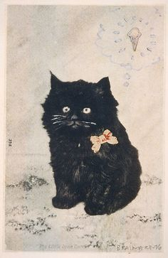 """Cat and Cone"", cut and pasted printed and painted papers and gouache on paper, Joe Brainard, 1976"