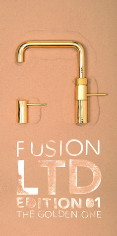 QUOOKER I EDITION FUSION THE GOLDEN ONE I FUSION SQUARE und SEIFENSPENDER