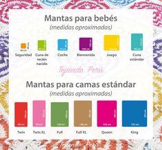 Cuadro de medidas sugeridas para mantas o cobijas en cualquier técnica Crochet Home, Love Crochet, Diy Crochet, Crochet Books, Crochet Ideas, Loom Knitting, Baby Knitting, Knitted Baby, Crochet Designs