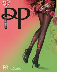 Pretty Polly Darkly Floral tights. Zwarte 40 denier panty met een mooie bloem tattoo op beide benen.