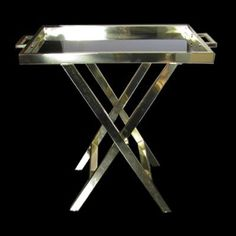 FLAIR Exclusive Brass Tray Table With X-Base