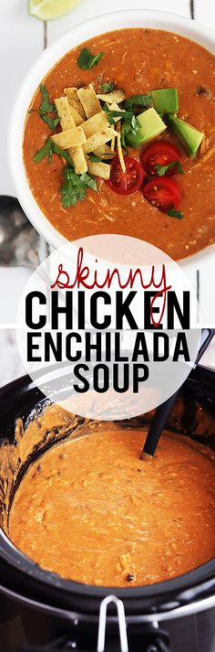 Skinny Chicken Enchilada Soup - creamy, cheesy, yet guilt-free!