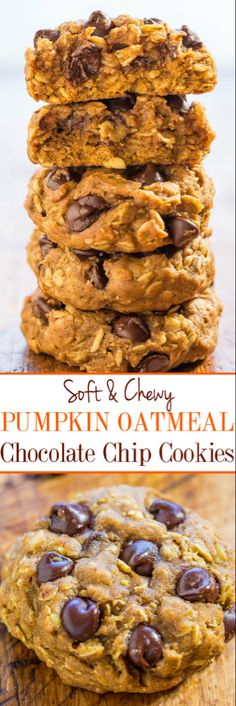 Soft and Chewy Pumpkin Oatmeal Chocolate Chip Cookies - A thick hearty oatmeal cookie and a soft chewy pumpkin cookie all in one! Lots of chocolate not at all cakey easy and your new favorite pumpkin cookie recipe! Pumpkin Oatmeal Cookies, Pumpkin Cookie Recipe, Pumpkin Chocolate Chips, Oatmeal Chocolate Chip Cookies, Pumpkin Dessert, Pumpkin Dishes, Healthy Pumpkin Cookies, Easy Pumpkin Recipes, Easy Recipes