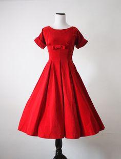 1950's Red Velvet Dress