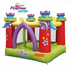 """Playtime Castle Bounce House by Kidwise. Save 30 Off!. $239.00. Ideal for ages 3-8 years. 7.5'x7.5'x6.2'H Overall Dimensions. Carry Bag, Stakes and Instructions and 110v Air Blower with GFCI included. 72""""x72"""" Heavy Duty Bounce Floor Area. The Playtime Castle has bright neutral colors make this a fun play environment for both boys and girls. KWSS-PCB-02R Features: -KidWise Playtime Castle Bouncer.-Heavy duty bounce floor is 72 x 72.-Reinforced Double and Triple Stitching.-Ages 3 to…"""