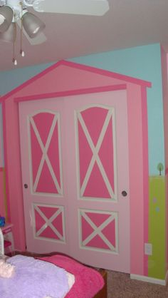 """My little girls """"Barn Themed"""" closet doors and wall turned out great!"""