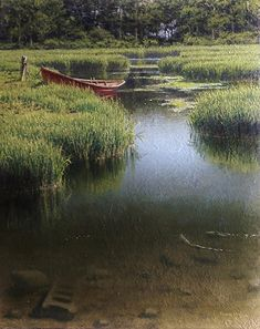 Joseph McGurl - The Red Boat- Oil - Painting entry - February 2017 Landscape Photos, Landscape Art, Landscape Paintings, Classical Realism, River Painting, Painting Competition, Artwork Images, Great Paintings, Online Painting