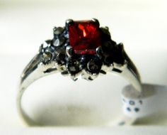 NEW Sterling Silver Ladies Red CZ Flower Marcasite Ring Sizes L,N,Q in Jewellery…