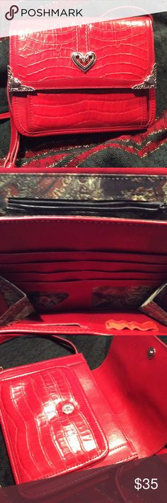 Red Handbag❤️ Handbag is stylish with big heart design in the middle, two smaller hearts on edges. Organizing pockets inside, beautifully lined. Two tiny marks hardly noticeable on strap. Bags Shoulder Bags