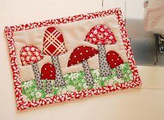 cute red mushroom mini-quilt