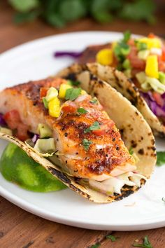 Maple Chipotle Salmon Tacos with Mango Salsa @FoodBlogs