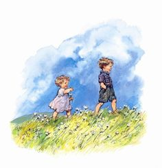 Shirley Hughes' books about Alfie and Annie Rose. Art And Illustration, Book Illustrations, Beatrix Potter, Shirley Hughes, Annie Rose, Children's Literature, Penny Black, Watercolor Print, Vintage Children