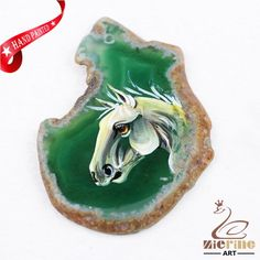 Hand Painted Horse Agate Slice Gemstone Necklace Pendant Jewlery D1707 0981 #ZL #Pendant