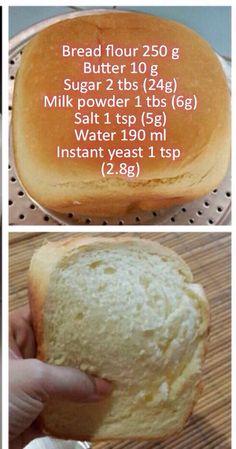 Bread flour 250 g Butter 10 g Sugar 2 tbs (24g) Milk powder 1 tbs (6g) Salt 1 tsp (5g) Water 190 ml Instant yeast 1 tsp (2.8g)
