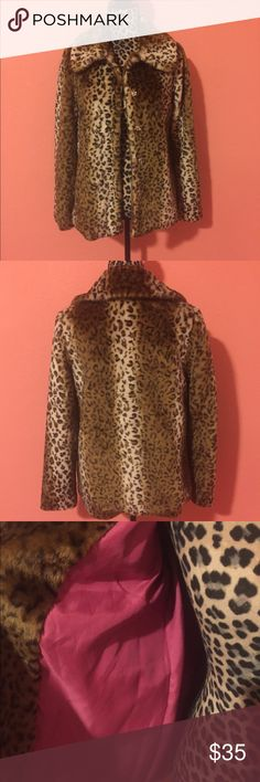 Forever 21 Faux Fur Leopard Cheetah Coat S Gently used and in great condition, coat features snap button closures, collared neck, faux fur animal print, and hot pink lining. Size small. Perfect for the holiday season! Forever 21 Jackets & Coats