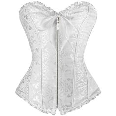 lttcbro Women's Jacquard Fabric Plastic Boned Overbust Corsets with... (£11) ❤ liked on Polyvore featuring intimates and shapewear