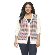 Women's Plus V Neck Cardigan Sweater Red/Navy | Target.com