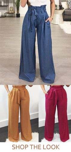 Flattering and comfortable extra wide leg pants are a must in any closet and we love this high waisted, blue cotton denim pair that are just so easy to wear. Fall Outfits, Cute Outfits, Girl Fashion, Womens Fashion, Fashion Design, Look Chic, Work Attire, Dress Codes, Swagg