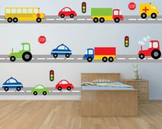 Worried about the decals not sticking? Try our product risk free! 100% MONEY BACK GUARANTEE within 30 days of receiving your shipment. If your decals have any trouble sticking we will give you the choice of replacements or a full refund!  Construction zone up ahead! This lively scene includes all kinds of fun vehicles to decorate your little ones room! Construction trucks, cars, even a plane, and hot air balloon! [WHATS INCLUDED]  Everything Pictured Approximate Sizes:  Decals are individual…