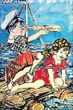 DAVID BROMLEY Children Series  Ships Ahoy  Polymer Painting 119cm x 79cm