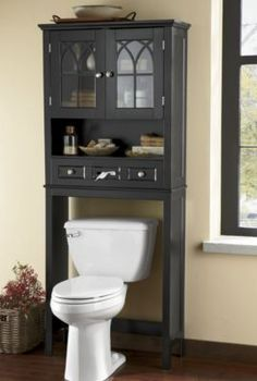 Country Chic Space Saver White Toilets On the side and Over