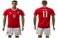 2016 European Cup Wales Home #11 Bale Red Men's Soccer Shirt Kit