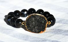 Black druzy bracelet by LolaBelleGems on Etsy, $85.00