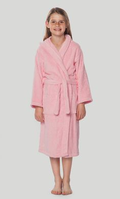 100% Turkish Cotton Pink Hooded Terry Kid s Bathrobe 2d3167c38