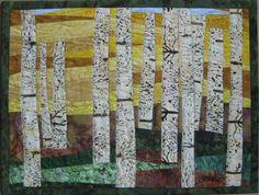 Art Quilt Birch Trees in Autumn by ArtQuiltsBySharon on Etsy